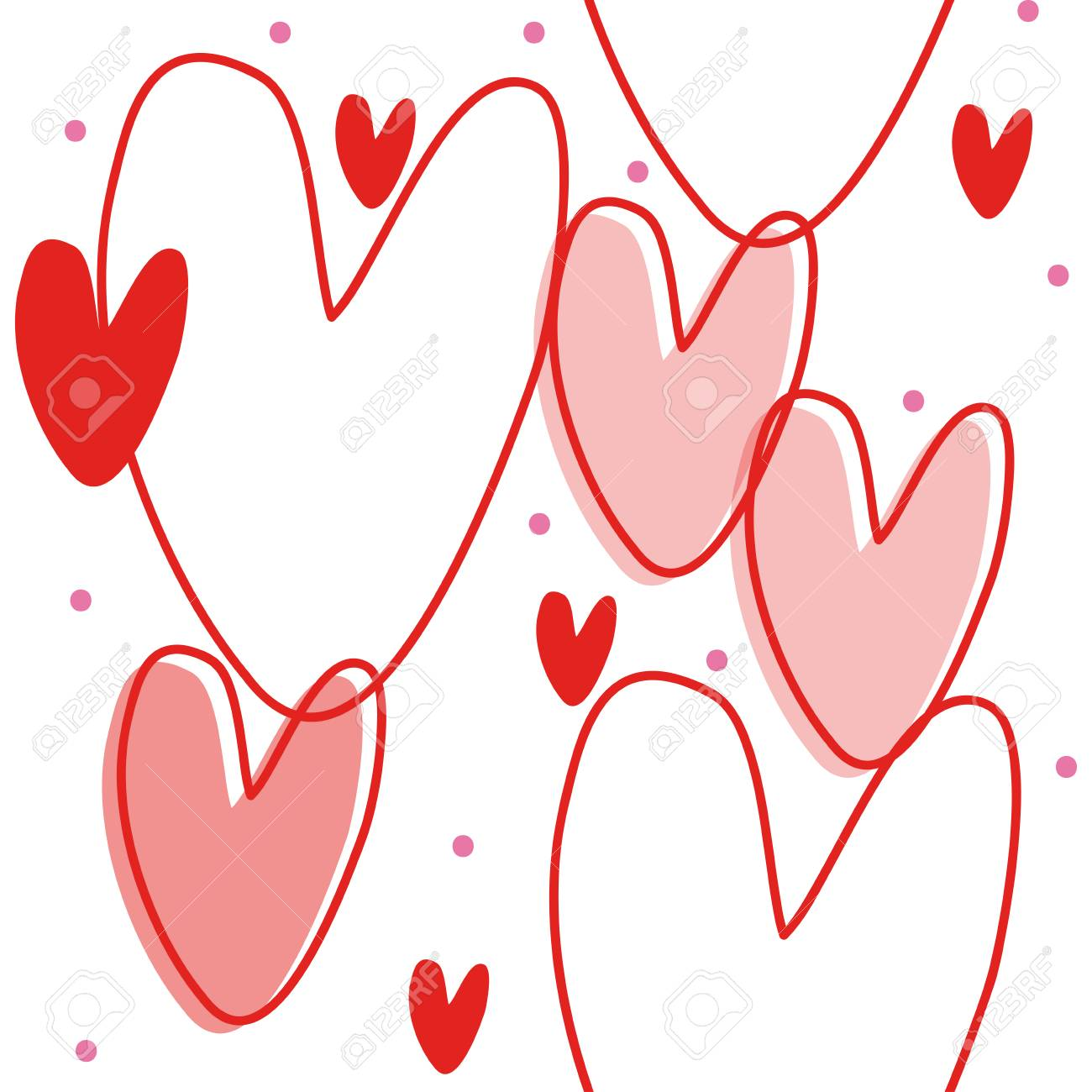 Hermosa Patrones Que Hacen Punto Libres Hilo Corazón Rojo Bosquejo ...