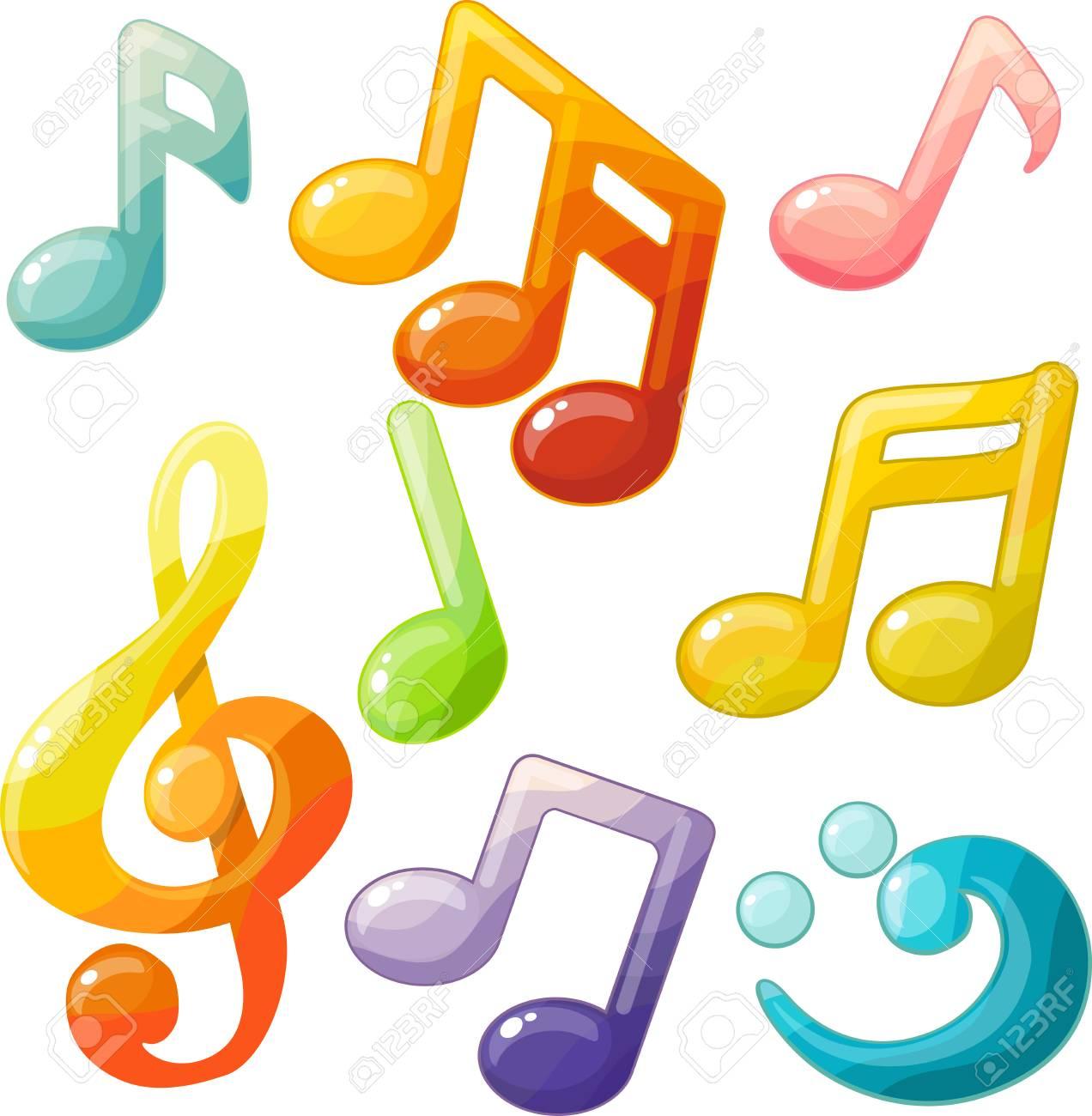 Decorative musical cartoon symbols - 93481442