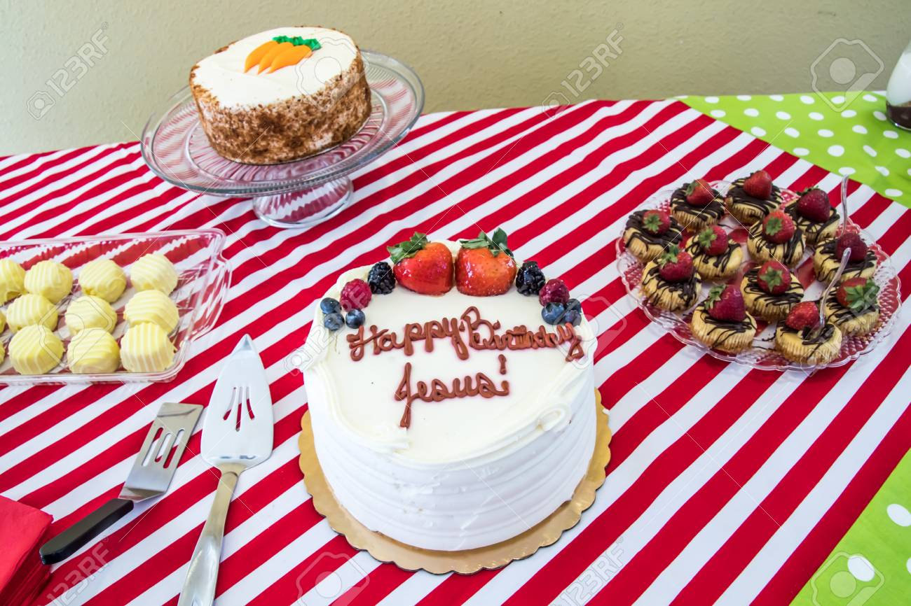 Christmas Desserts And Jesus Birthday Cake Stock Photo Picture And