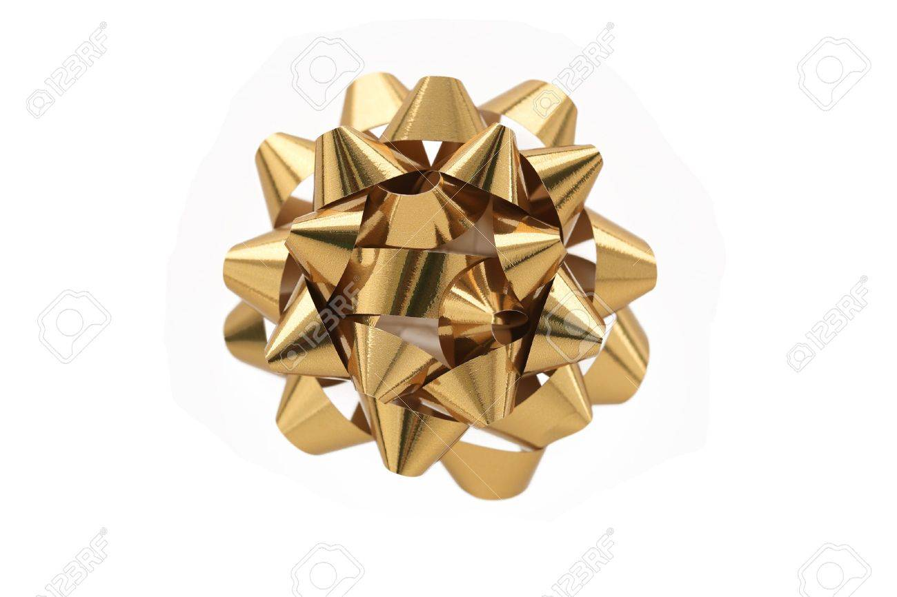 a horizontal color photo of a gold gift wrap bow isolated over