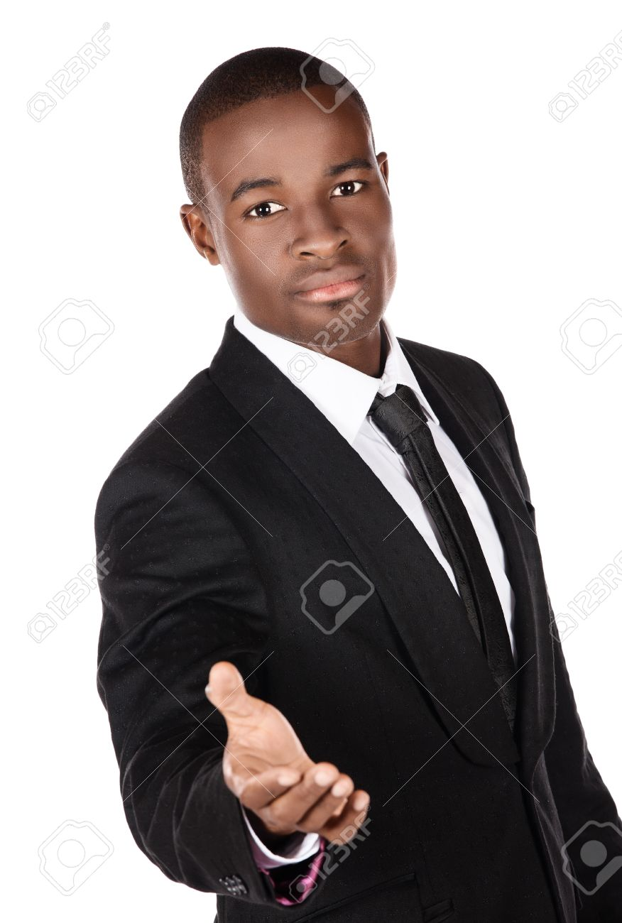 345d6a8ec993f8 Beau Jeune Homme D affaires Prospère Africain Vêtu D un Costume Noir  Formel, Cravate Et Chemise Blanche, Il Tient La Main Pour Une Poignée De  Main Et Est à ...