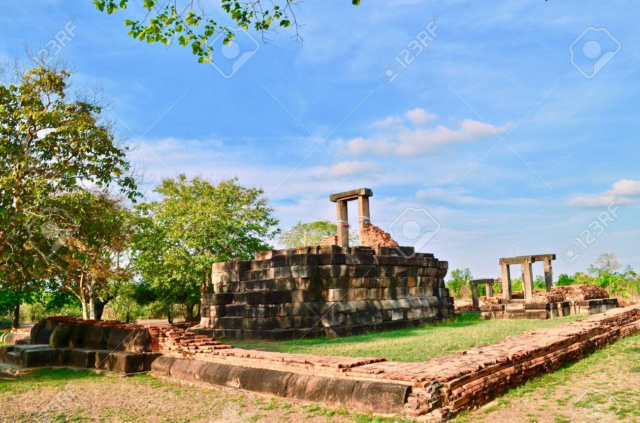 Khmer Temple, old temple name Prasat Noan Koo, Angkor period time, Korat, Sung noen, Thailand - traveling - 155408914