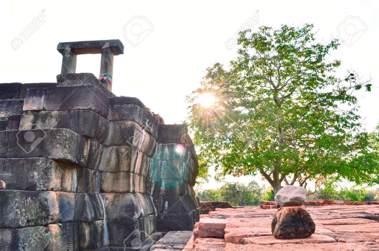 Khmer Temple, old temple name Prasat Noan Koo, Angkor period time, Korat, Sung noen, Thailand - traveling - 155289301