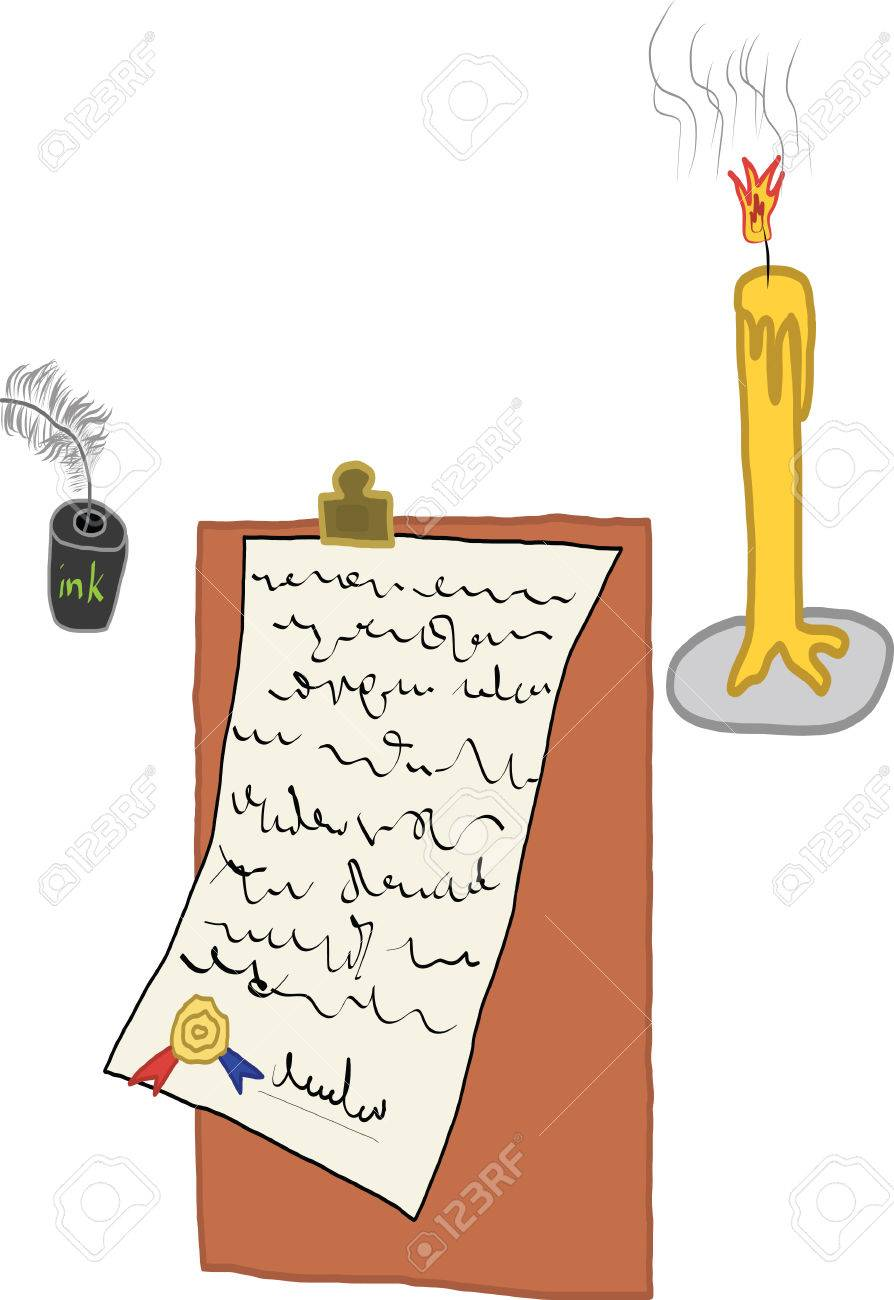 A picture digital art of  write a letter with quill under candlelight Stock Vector - 23080708