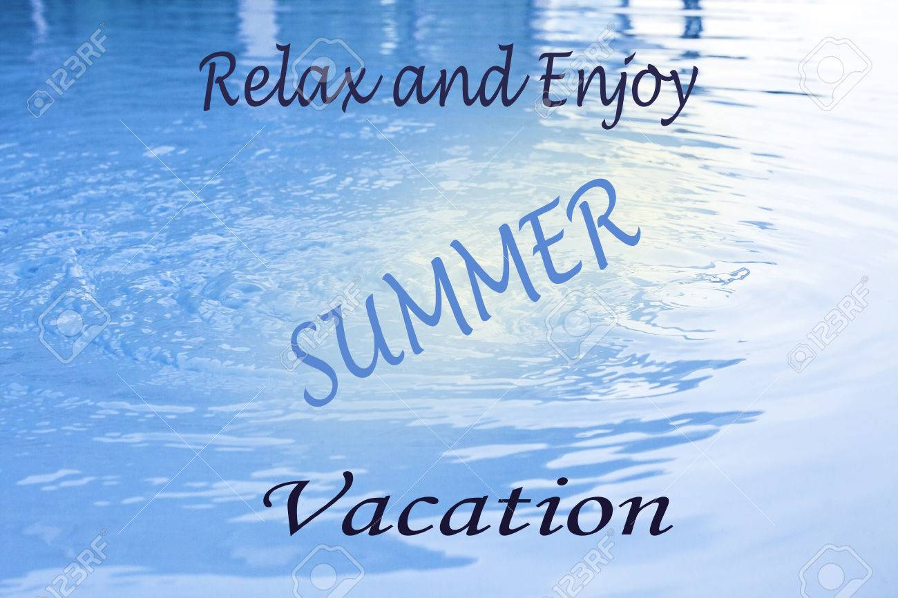 Word Relax And Enjoy Summer Vacation On Water Background Stock