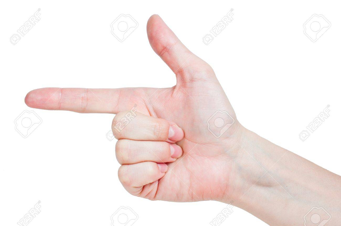 Woman hand pointing left close up Stock Photo - 12839671