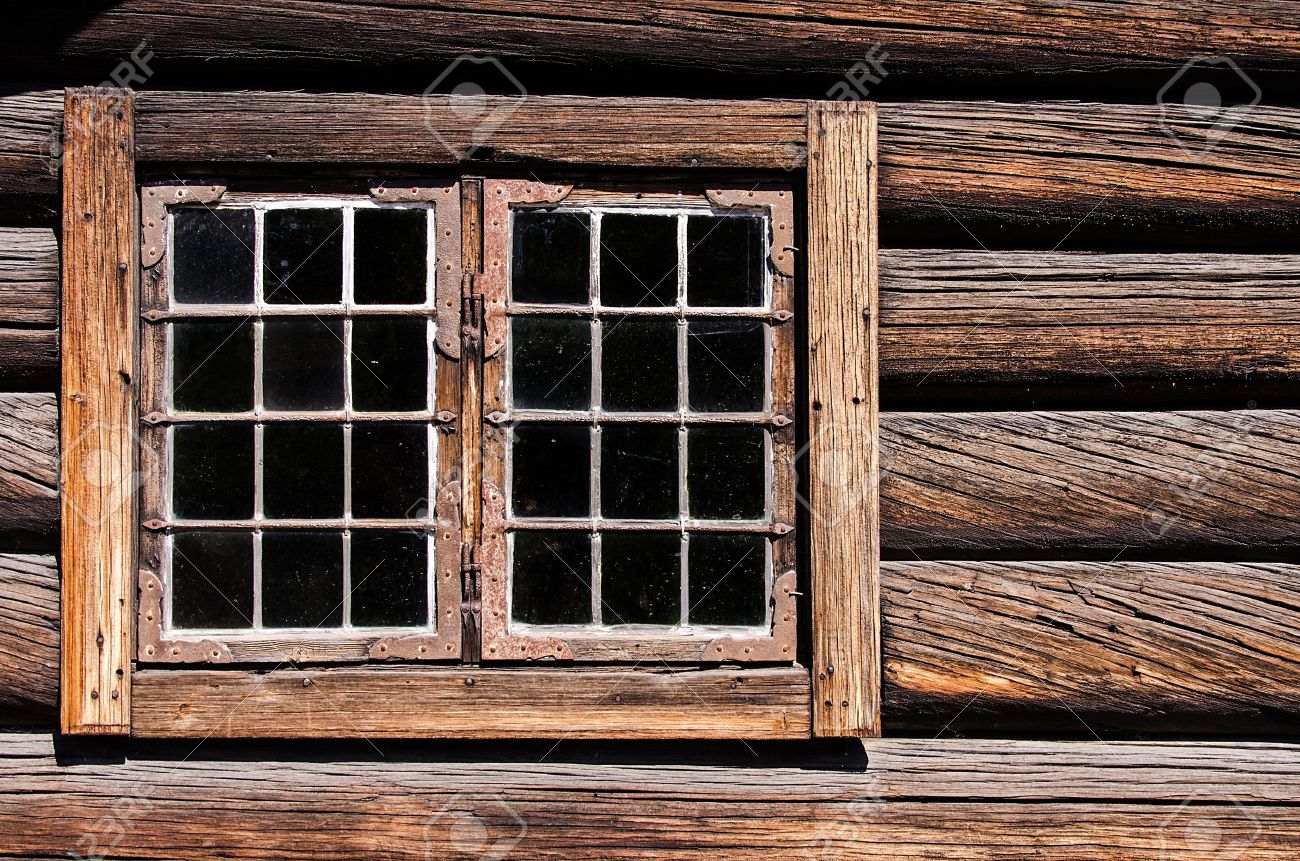 Weathered Log House Wall Window Stock Photo Picture And Royalty