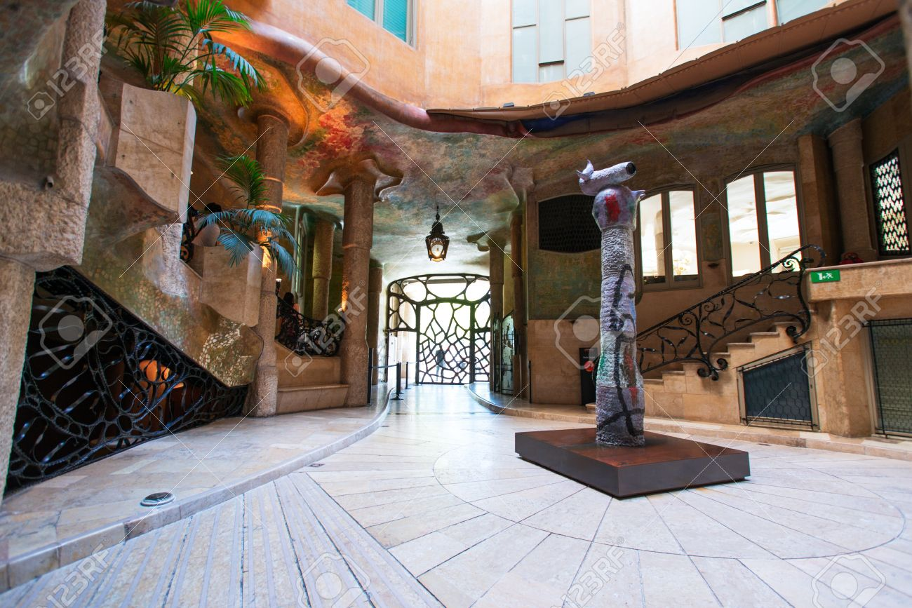 BARCELONA - JULY 19 Interior Of The House Casa Mila Designed.. Stock ...