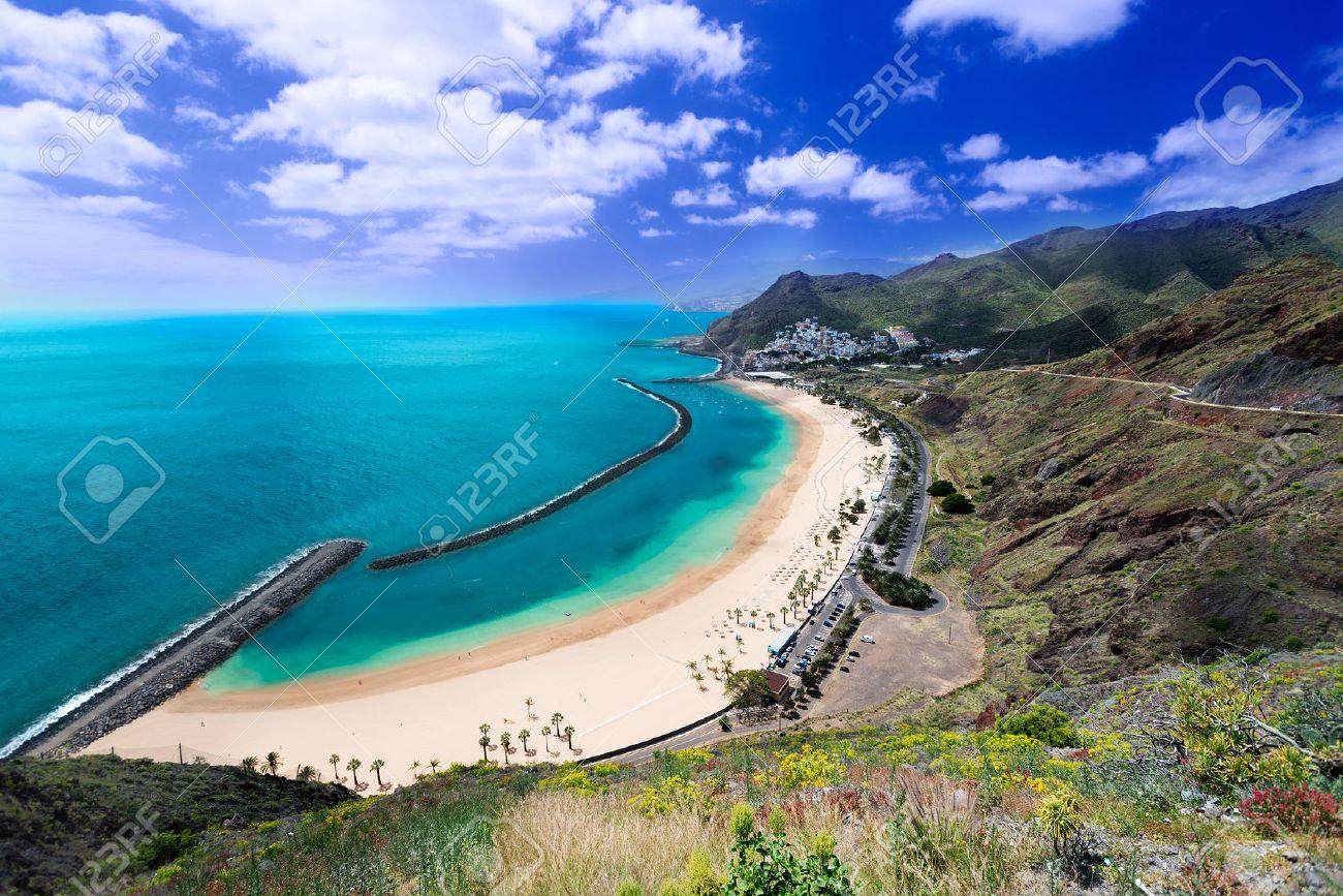 Playa de Las Teresitas, a famous beach near Santa Cruz de Tenerife in the north of Tenerife, Canary Islands, Spain - 27787663
