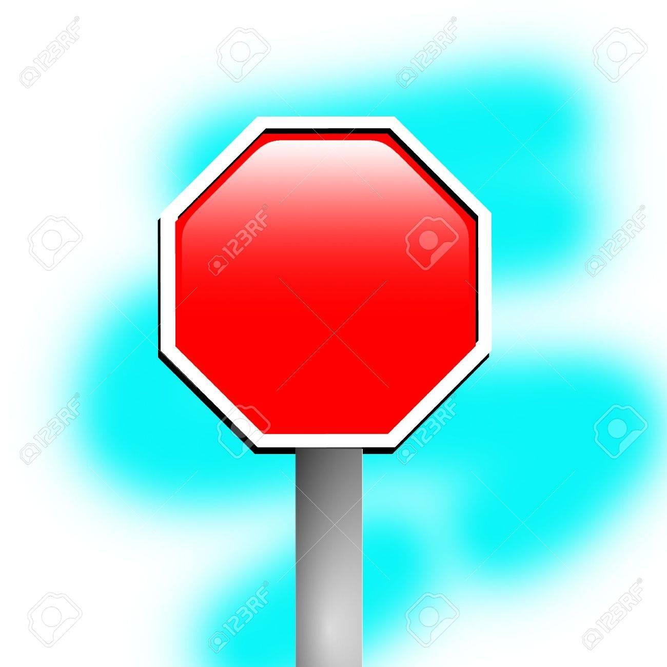 Blank stop sign frame against blue background