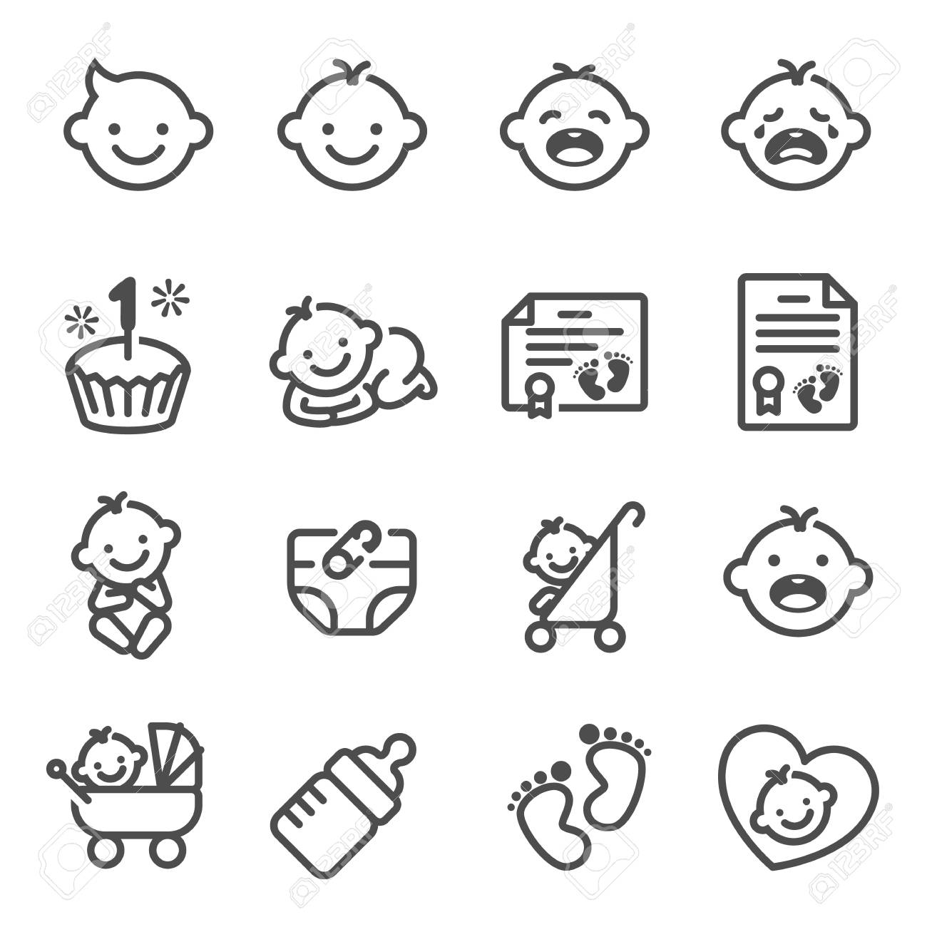 Line Vector Icon Set Of Baby Newborn Contains Icons Birth