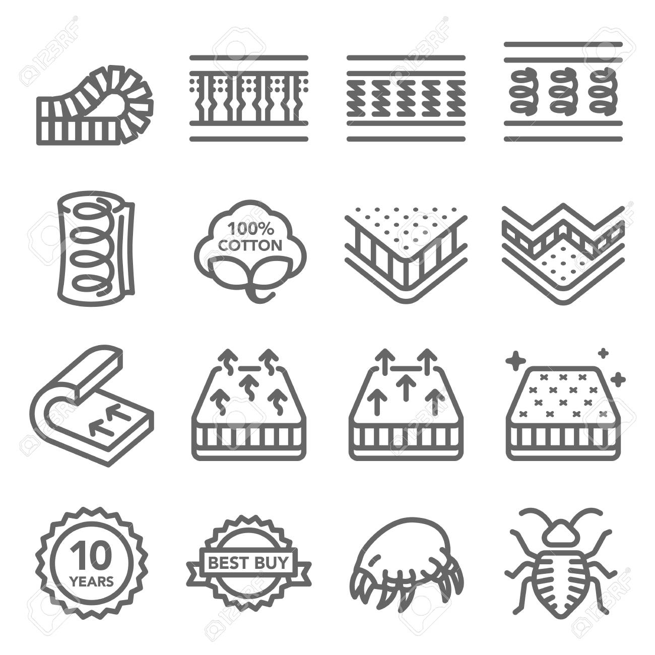 Mattress Vector Line Icon Set. Contains such Icons as Cotton, Dust mite, Bed Bug, Bed layer Inside and more. Expanded Stroke - 119955046