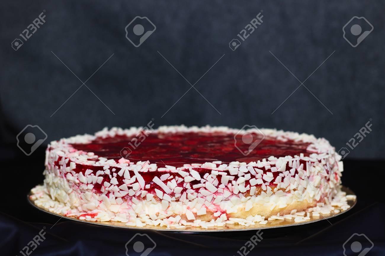 Fine Strawberry Jelly And White Chocolate Birthday Cake On Purple Personalised Birthday Cards Arneslily Jamesorg