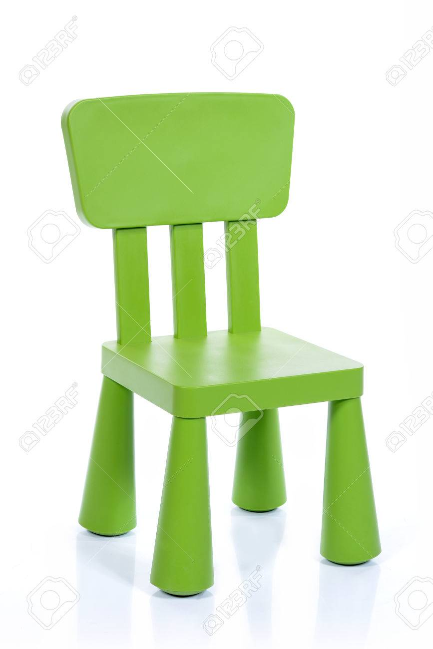 Green Children Plastic Chair Isolated On White Background Stock Photo    44187070
