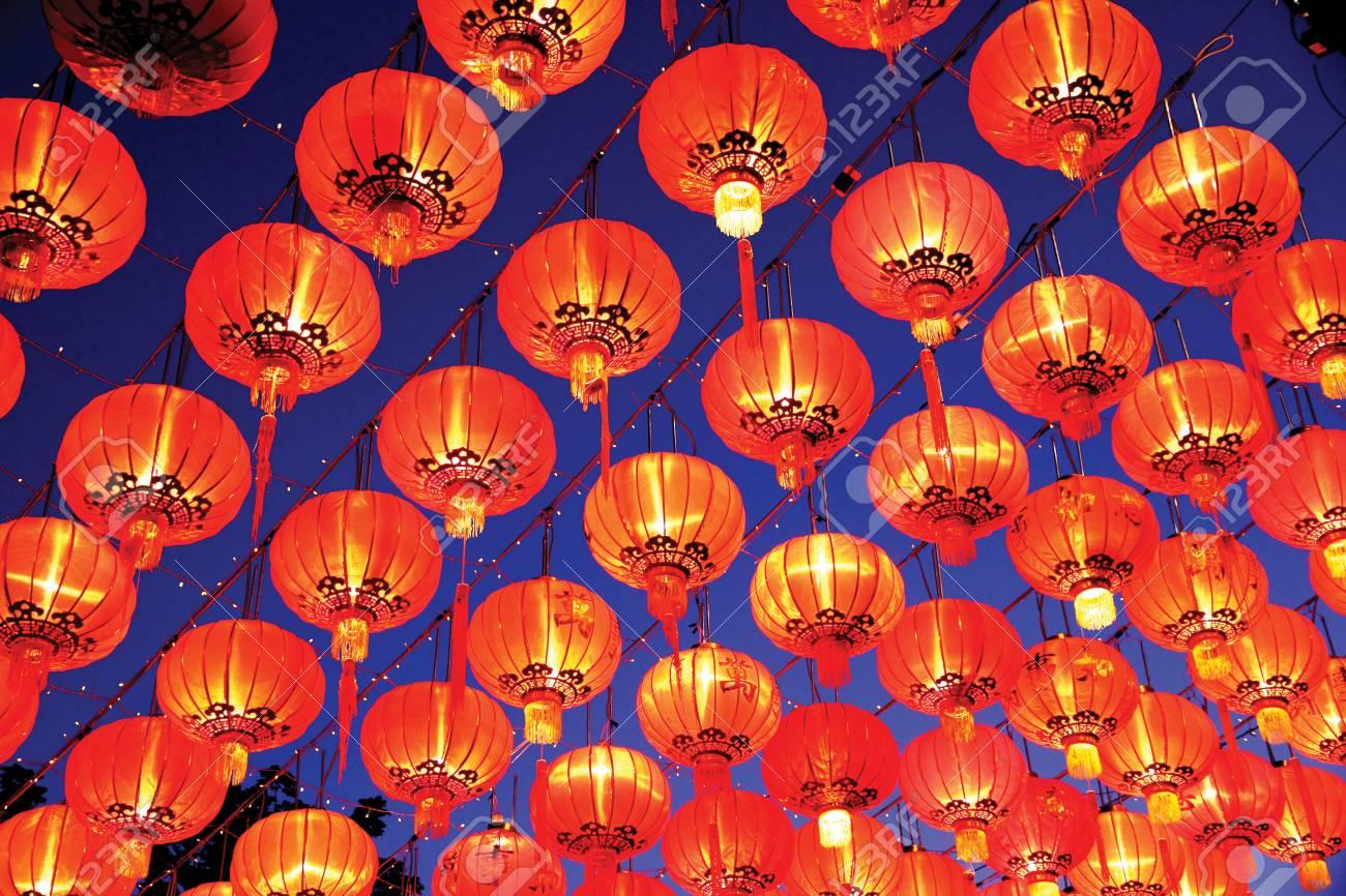 66ce0beb6 Estilo Tailandés Linternas Rojas Exposición Sobre El Año Nuevo Chino ...