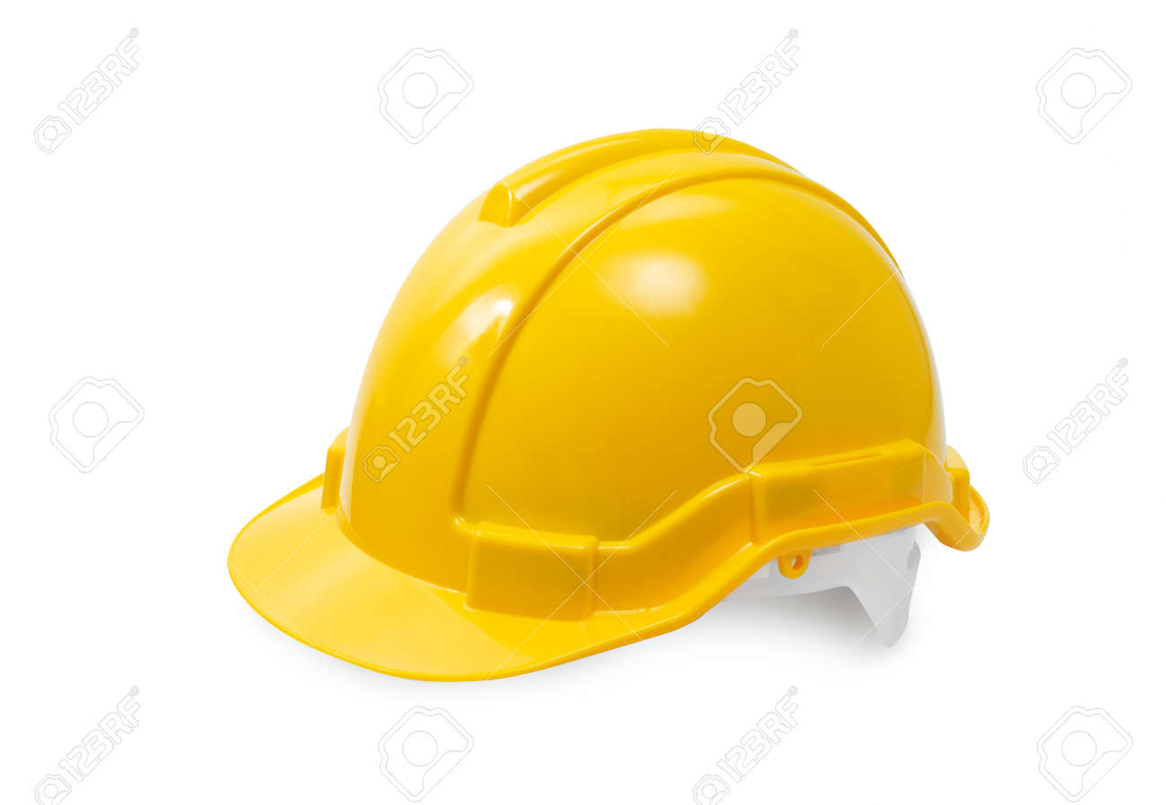 construction hard hat - safety helmet used in workplace environments such as industrial or construction sites to protect head from injury due to falling objects, impact with other objects and electric shock - 151581128
