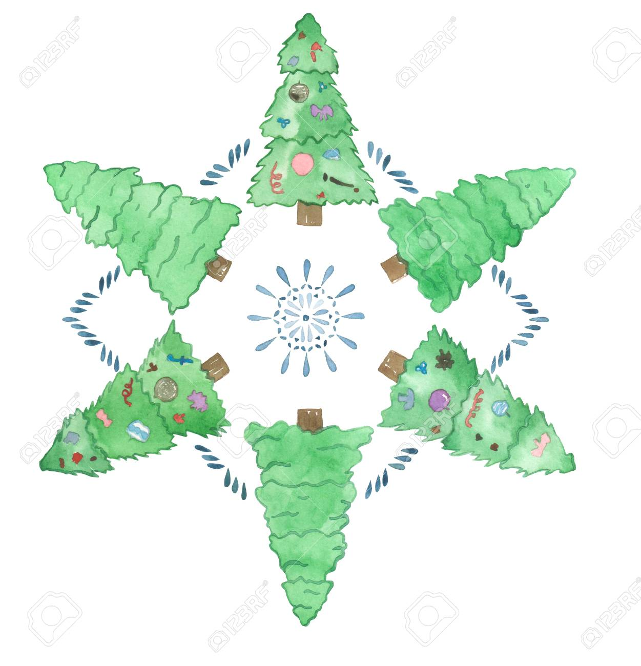 Watercolor Set Of Child Colorful Christmas Trees. Stock Photo ...