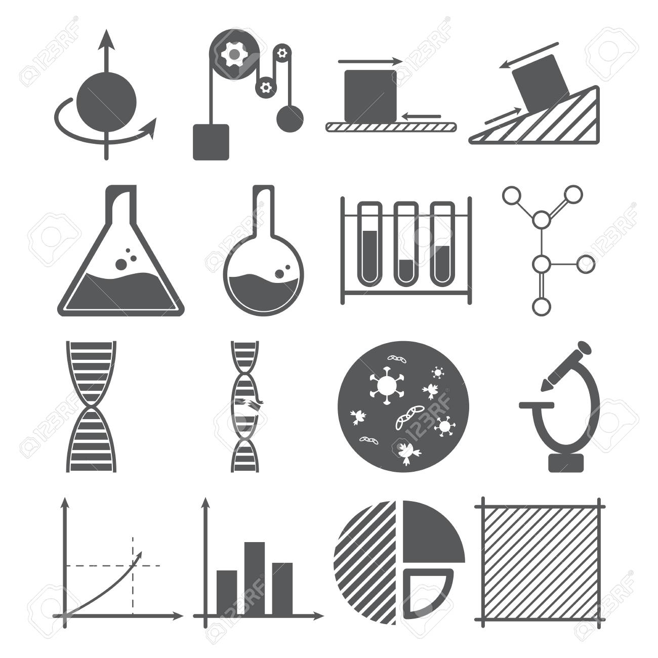 Science icons concept physics chemistry biology mathematics science icons concept physics chemistry biology mathematics mass object solution nvjuhfo Choice Image