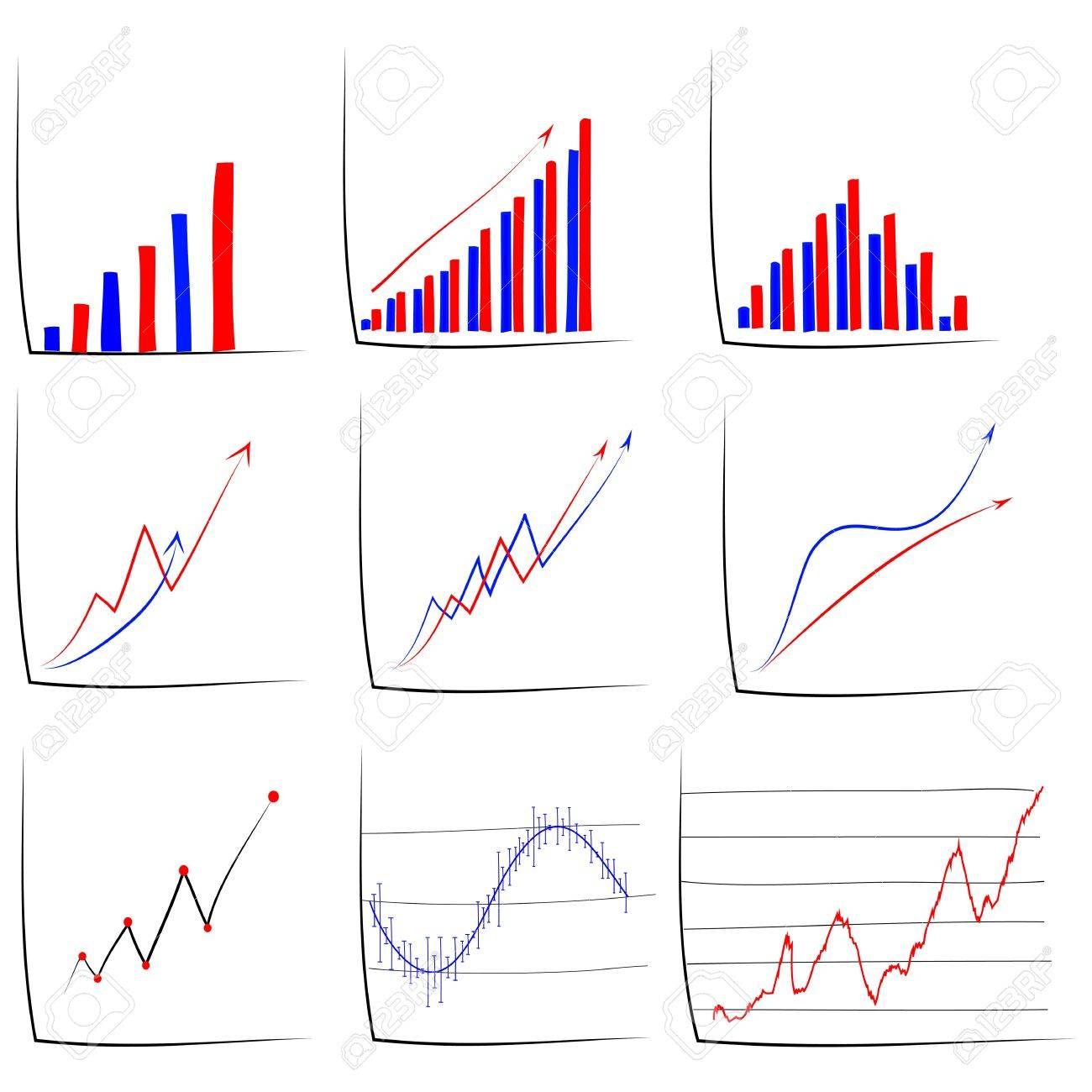 Set Of Hand Drawn Sketch Of Business Graph. Royalty Free Cliparts ...