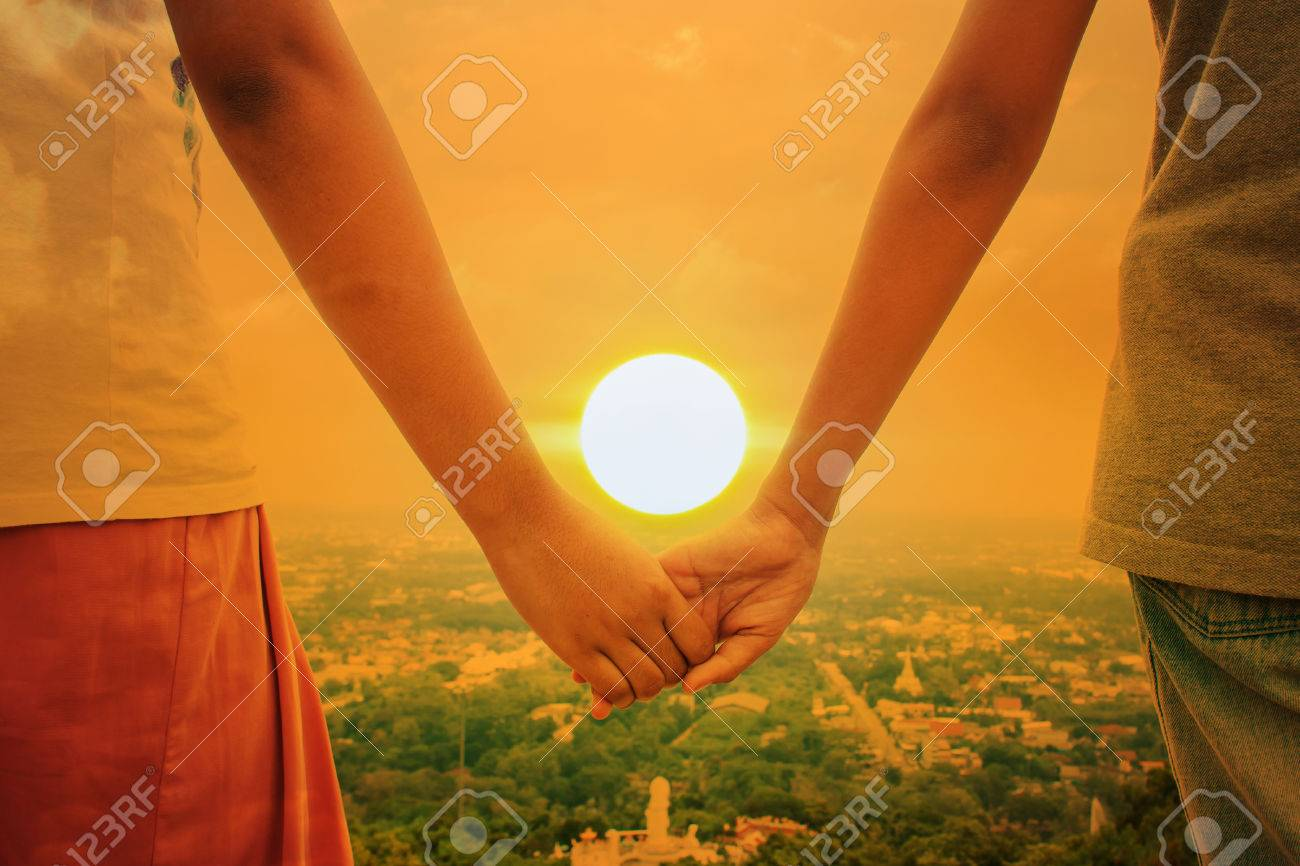Happy Cute Hand Child Girl Couple Holding Sunset Background Stock ...