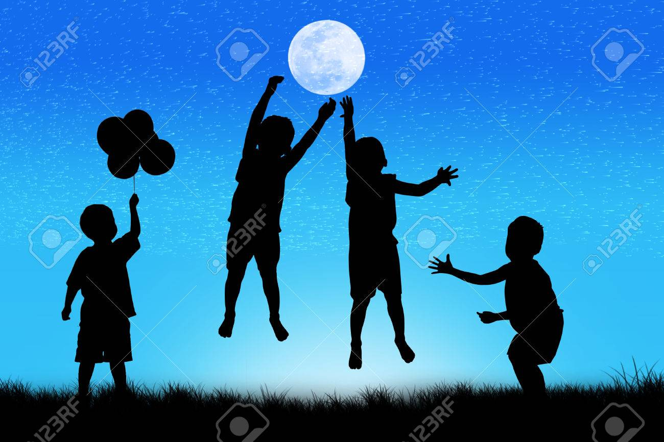 Kids at night with moon royalty free stock photography image - Silhouette Of Boy Happy Jumping At Full Moon Night Background Stock Photo 47841592