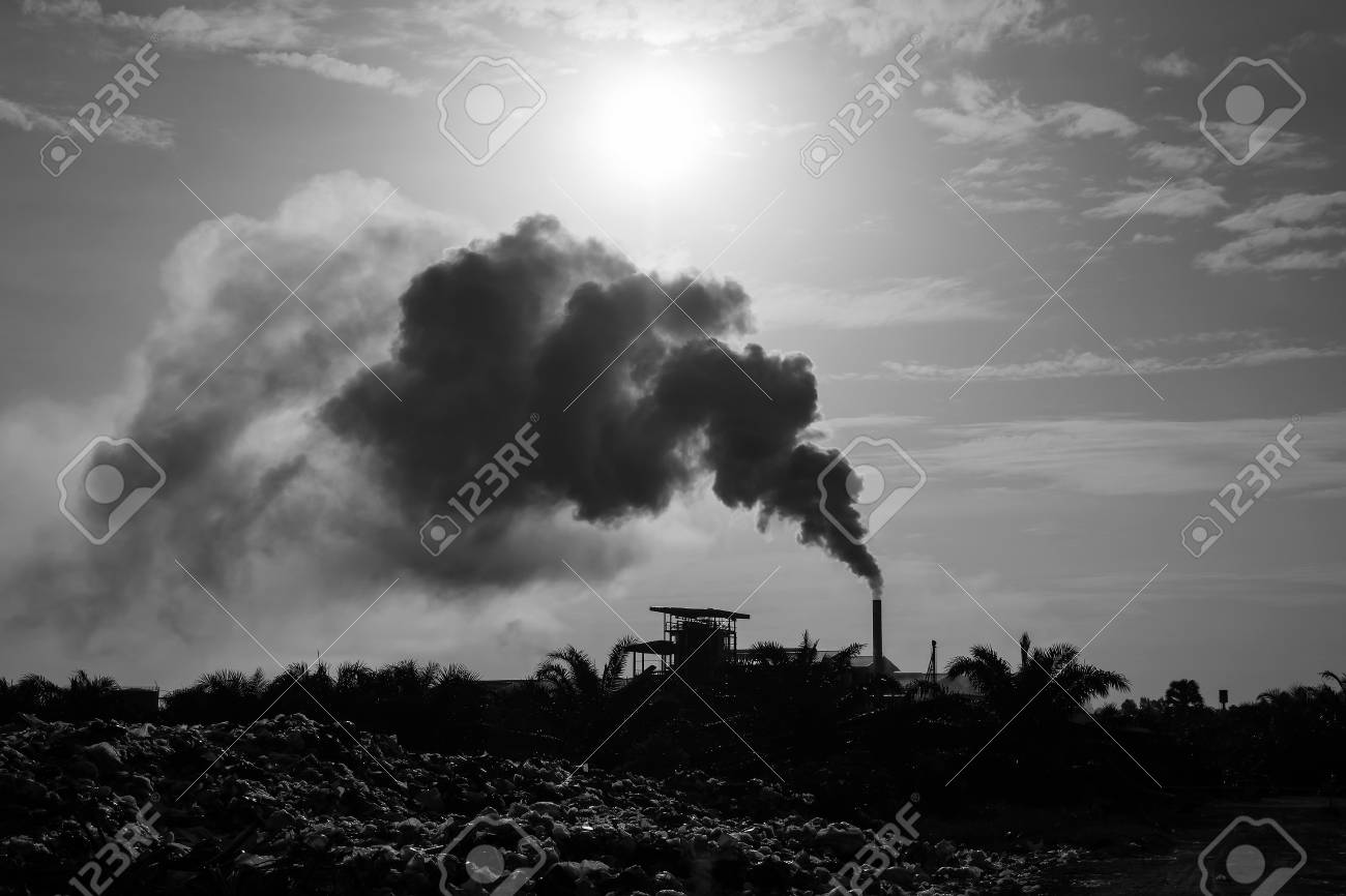 Air pollution and piles of garbageblack and white tone