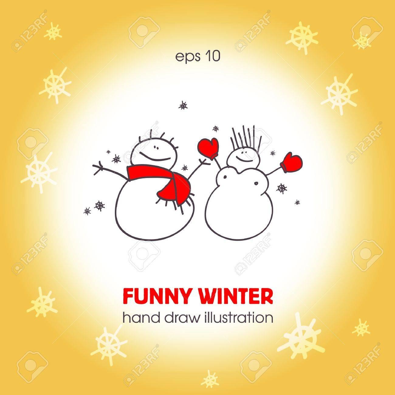 面白い雪だるまのカップル。クリスマス イラスト。eps10 ロイヤリティ