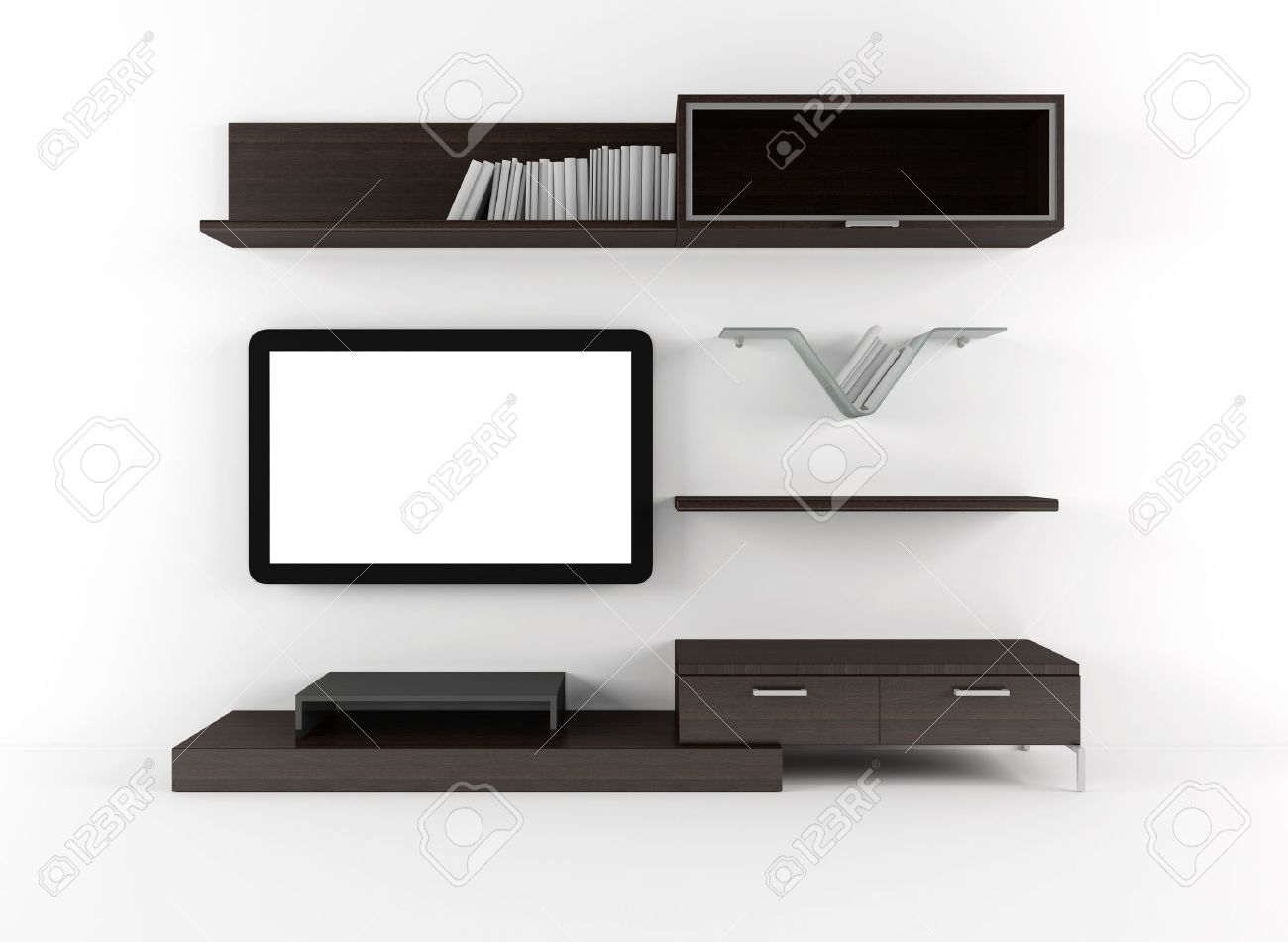 living room with cabinet shelves and lcd tv stock photo picture
