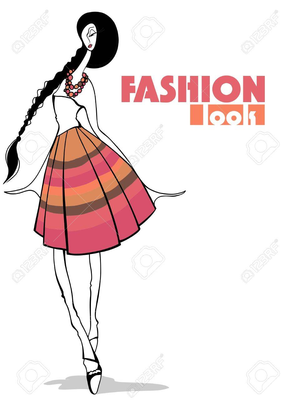 ファッション イラストスタイリッシュな女の子のイラスト素材ベクタ