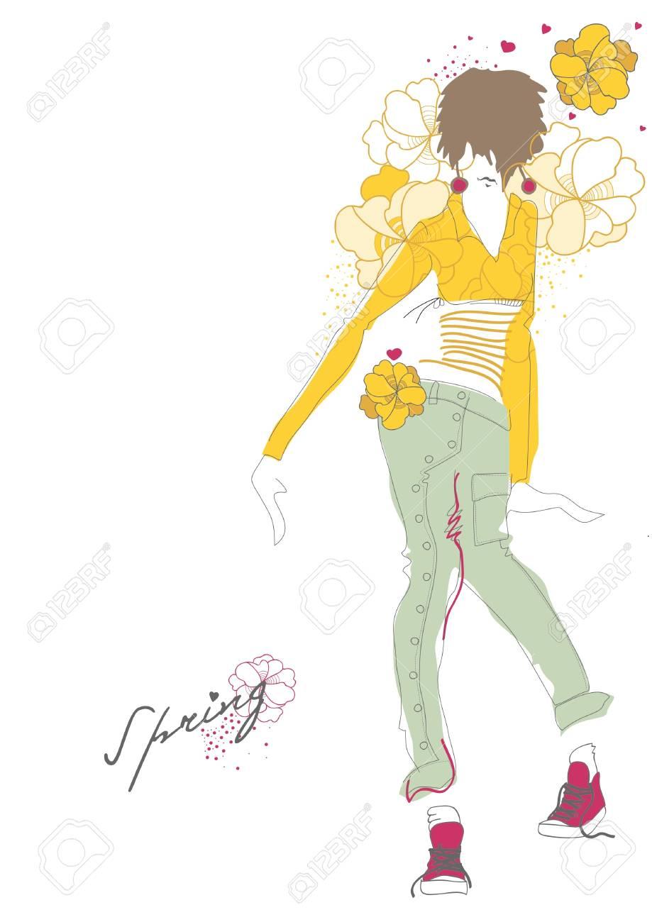 Spring fashion girl. illustration Stock Vector - 12196714