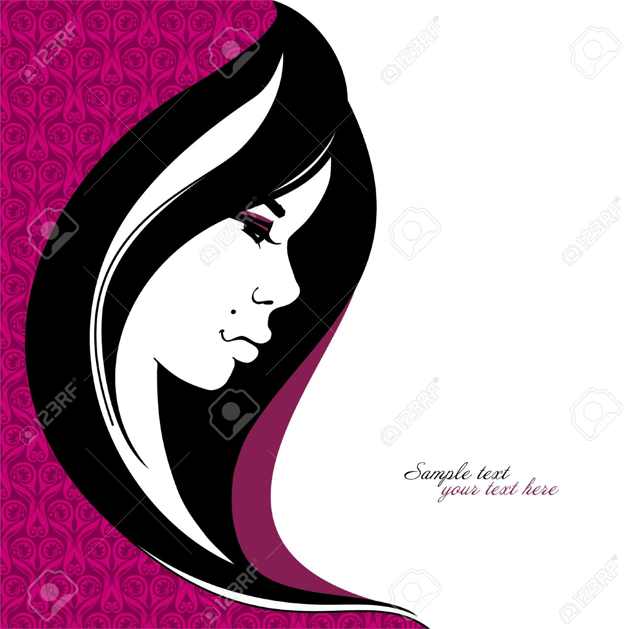 Stylish portrait of a girl with long hair Stock Vector - 12434604