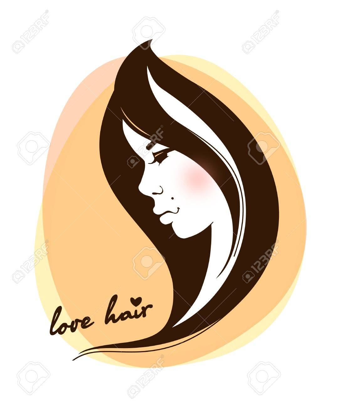 Stylish face of woman with long hair Stock Vector - 12710121