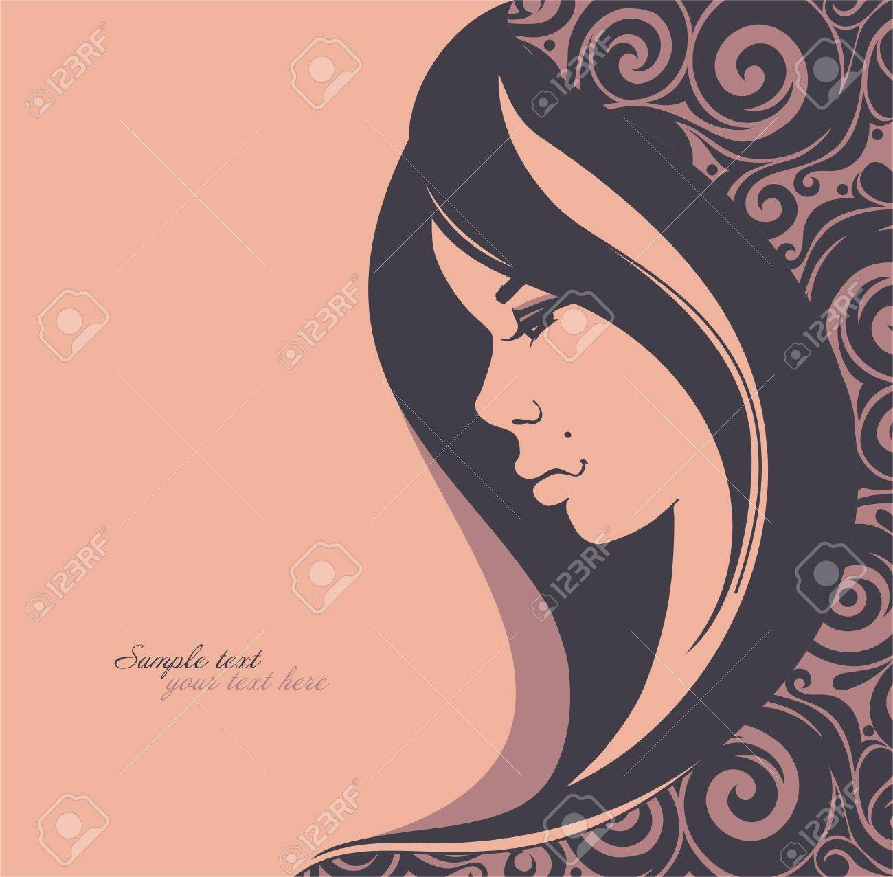 Stylish face of woman with beautiful hair_Fashion illustration Stock Vector - 13365904