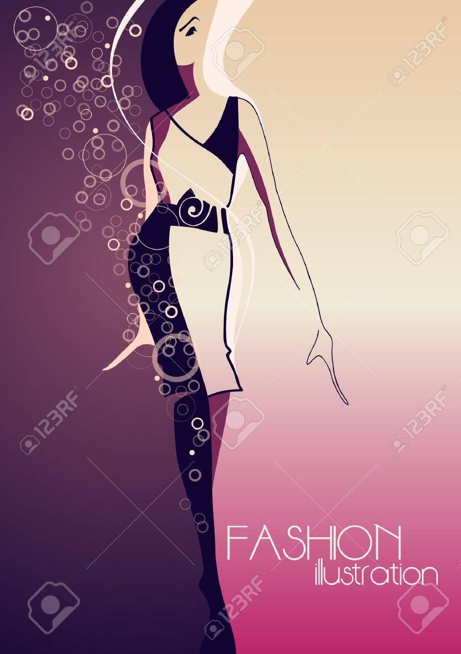 Fashion model  Fashion illustration Stock Vector - 13705235
