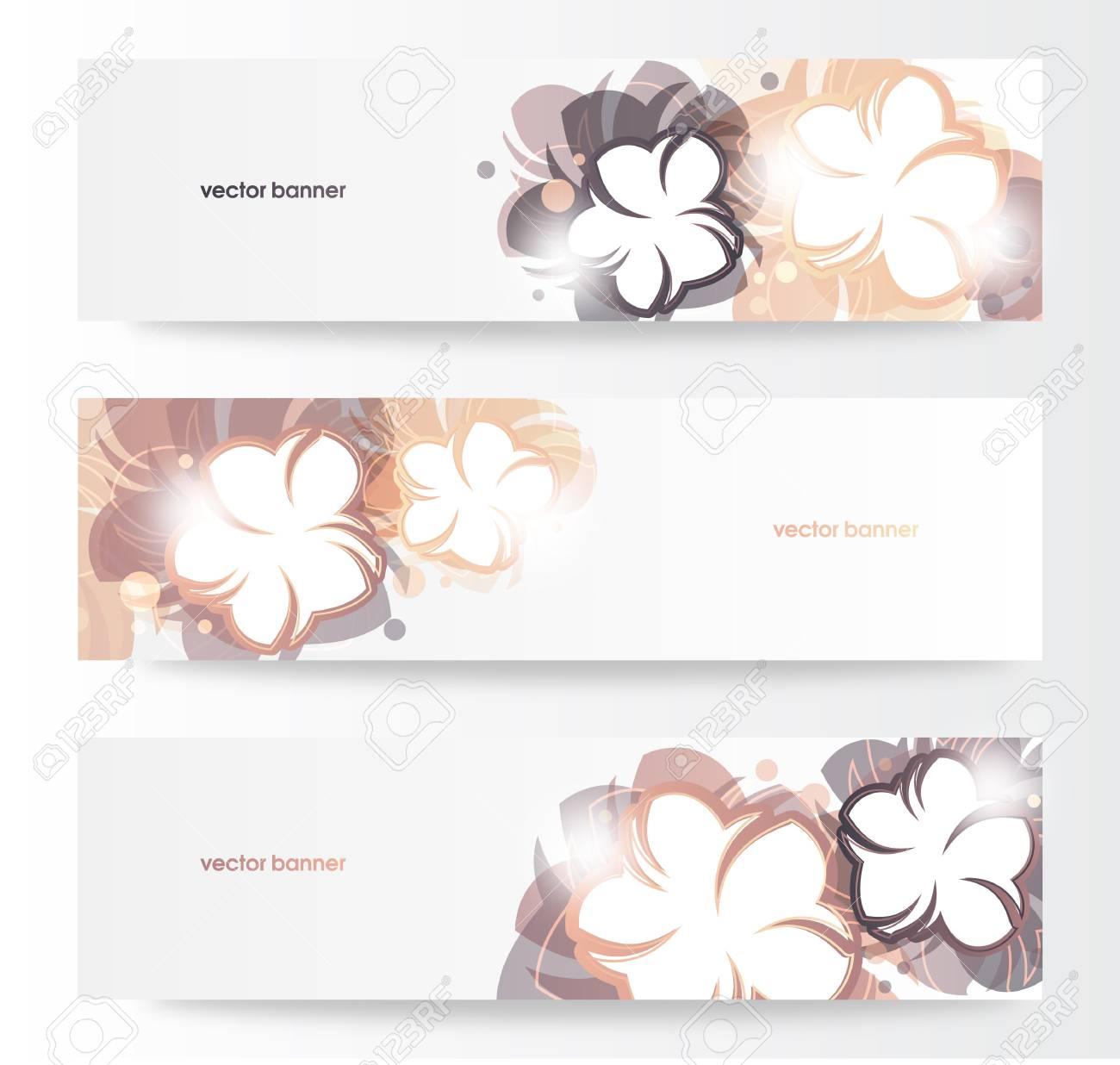 Vector beautiful horizontal floral banners Stock Vector - 14000215