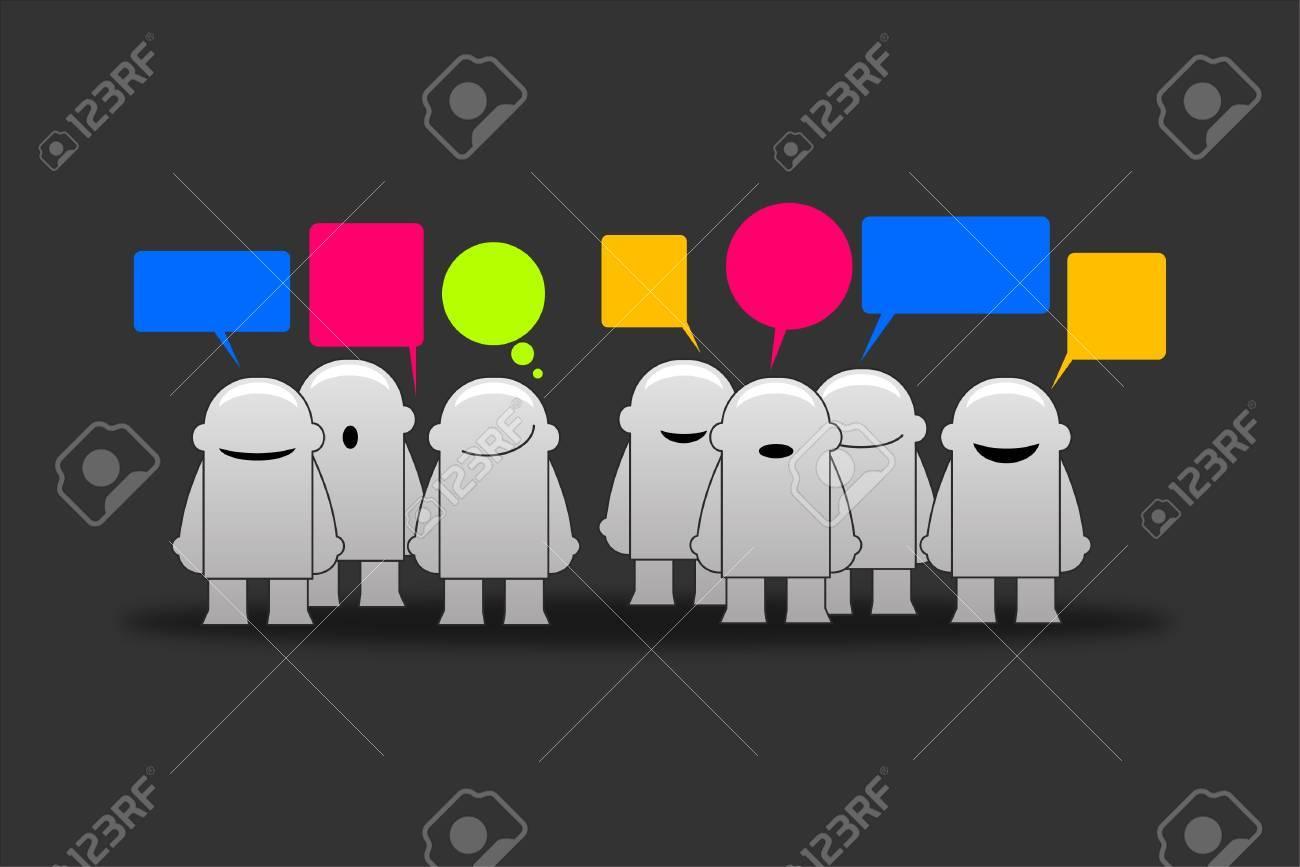 Happy group of men smileys with speech bubbles Stock Vector - 14041367