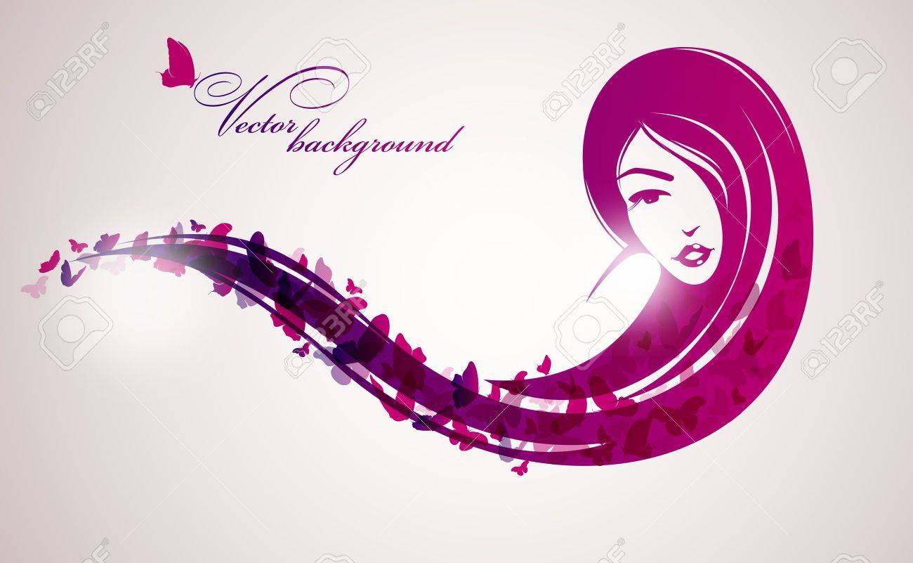 Woman with butterfly Stock Vector - 14554771