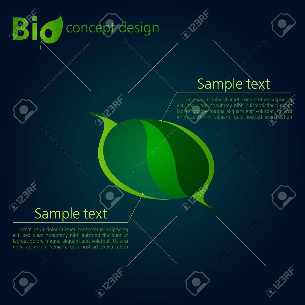 Green template for advertising brochure with two leaves Stock Vector - 15632149