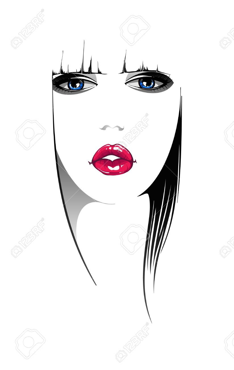 Woman Face Vector Illustration Stock