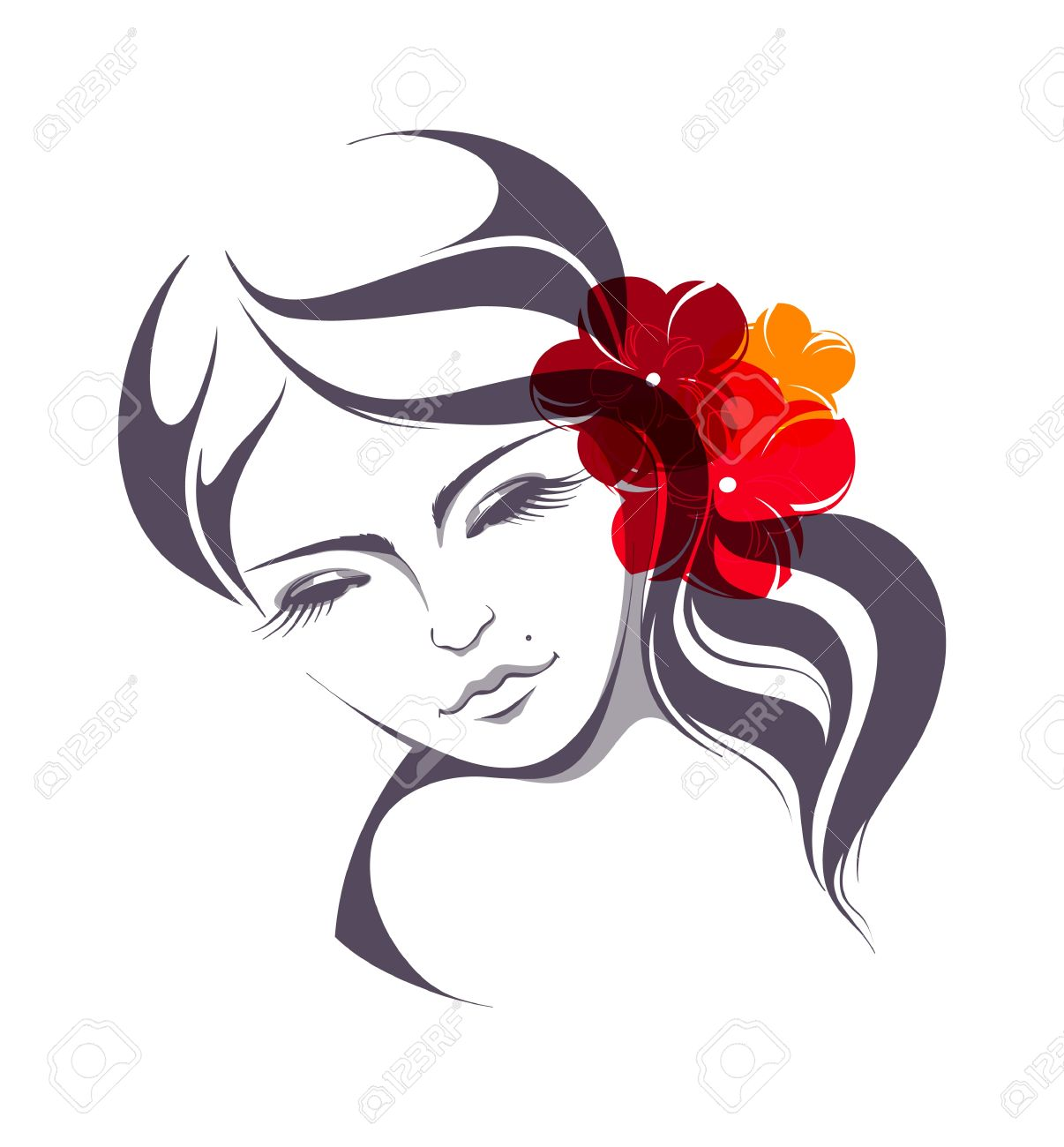 Beautiful girl with flowers in hair Stock Vector - 18202163