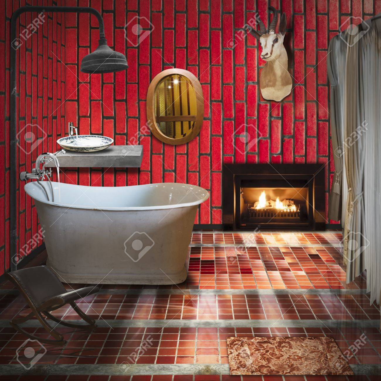 3d Bathroom Interior Design Fashion And Retro Style Stock Photo Picture And Royalty Free Image Image 11830662