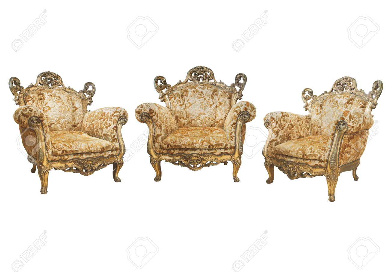 Stock Photo   Victorian Chairs On White Background