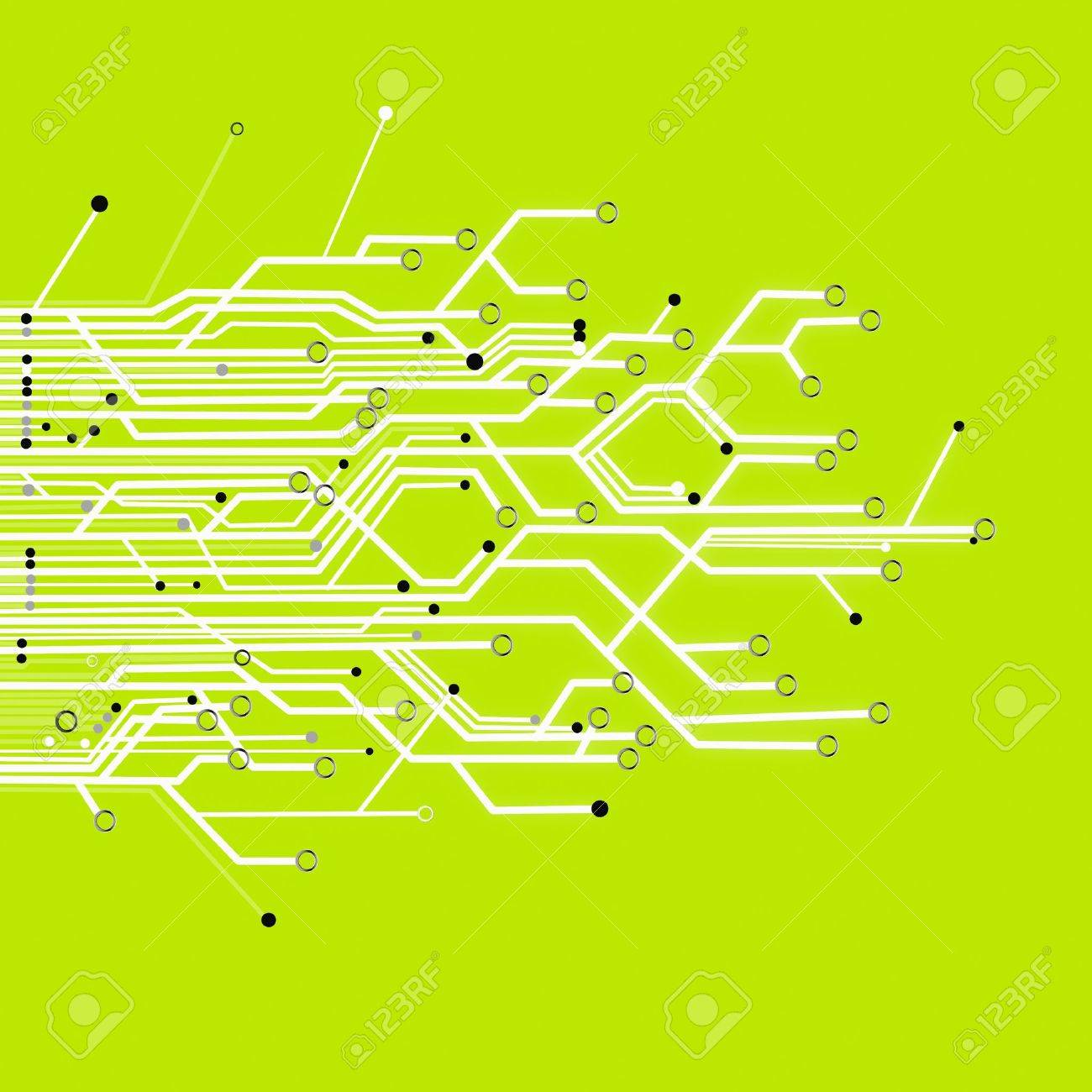 Circuit Board Graphic On Color Background Stock Photo, Picture And ...