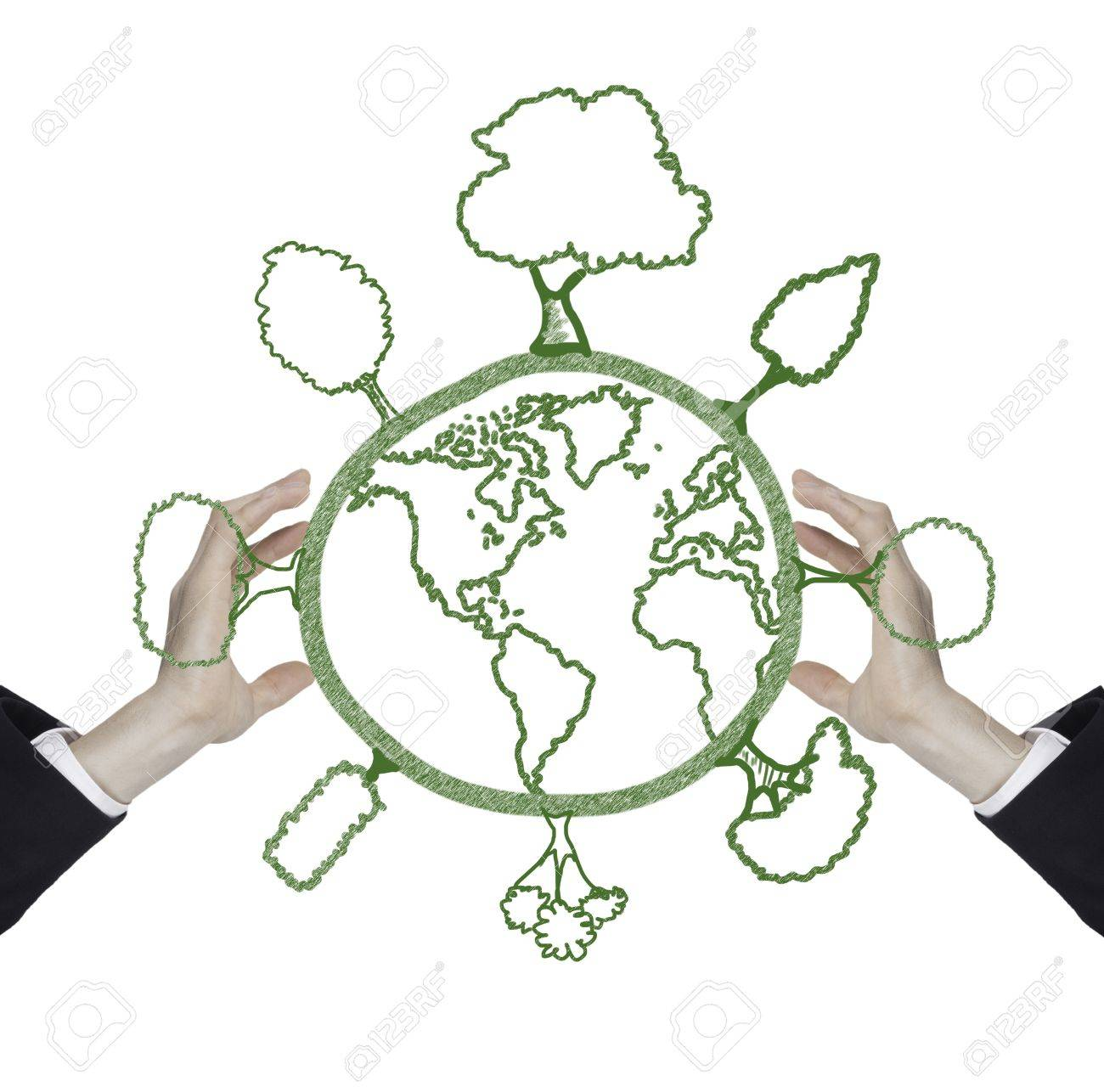 Man With Green World Drawing Global Warming Concept Stock Photo