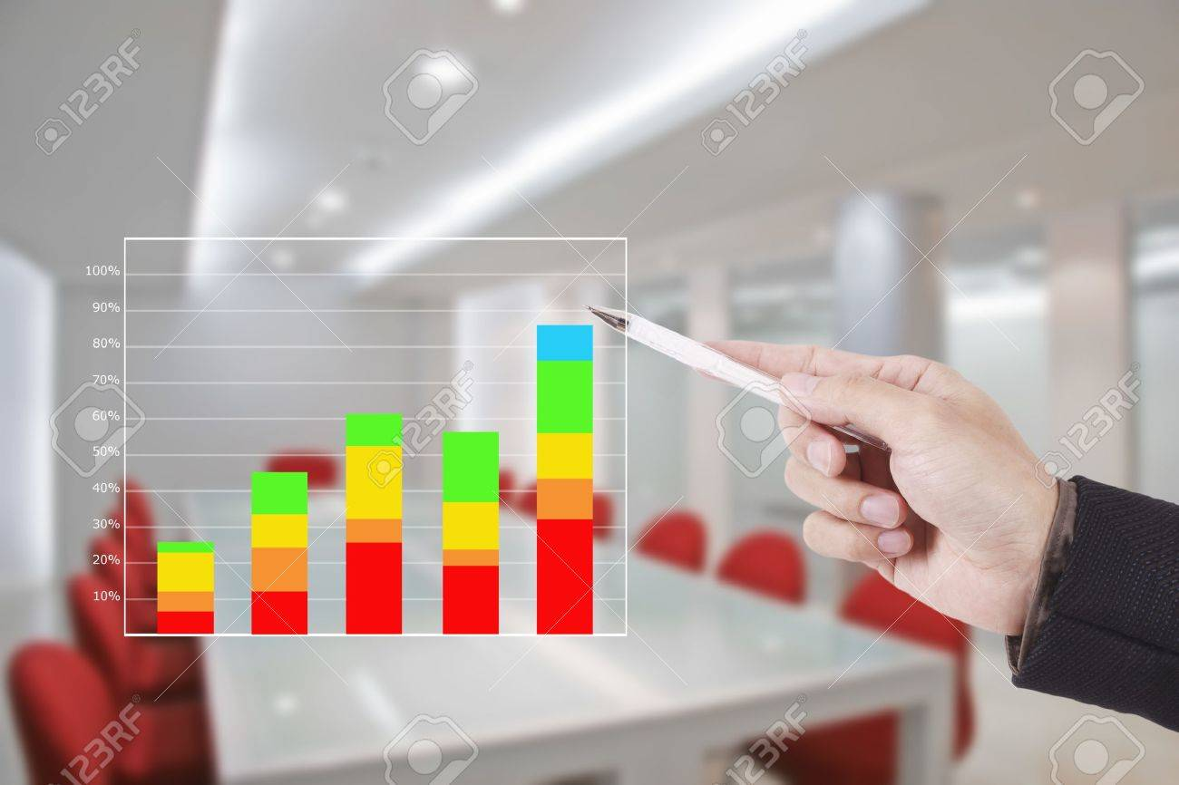 hand writing graph in conference room Stock Photo - 11820644