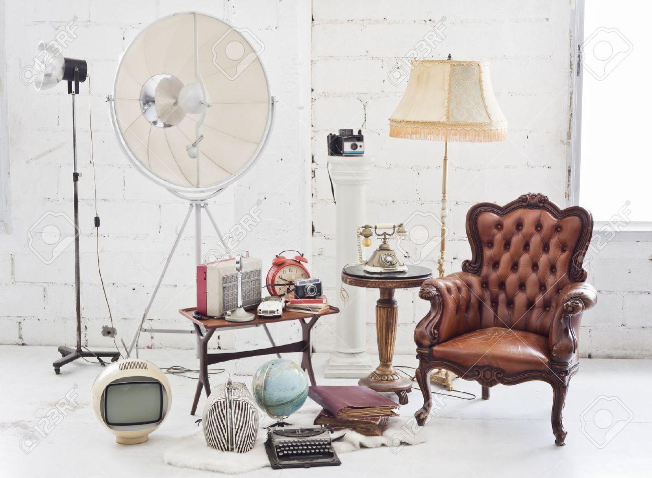 Retro Furniture And Decoration In White Room Stock Photo Picture