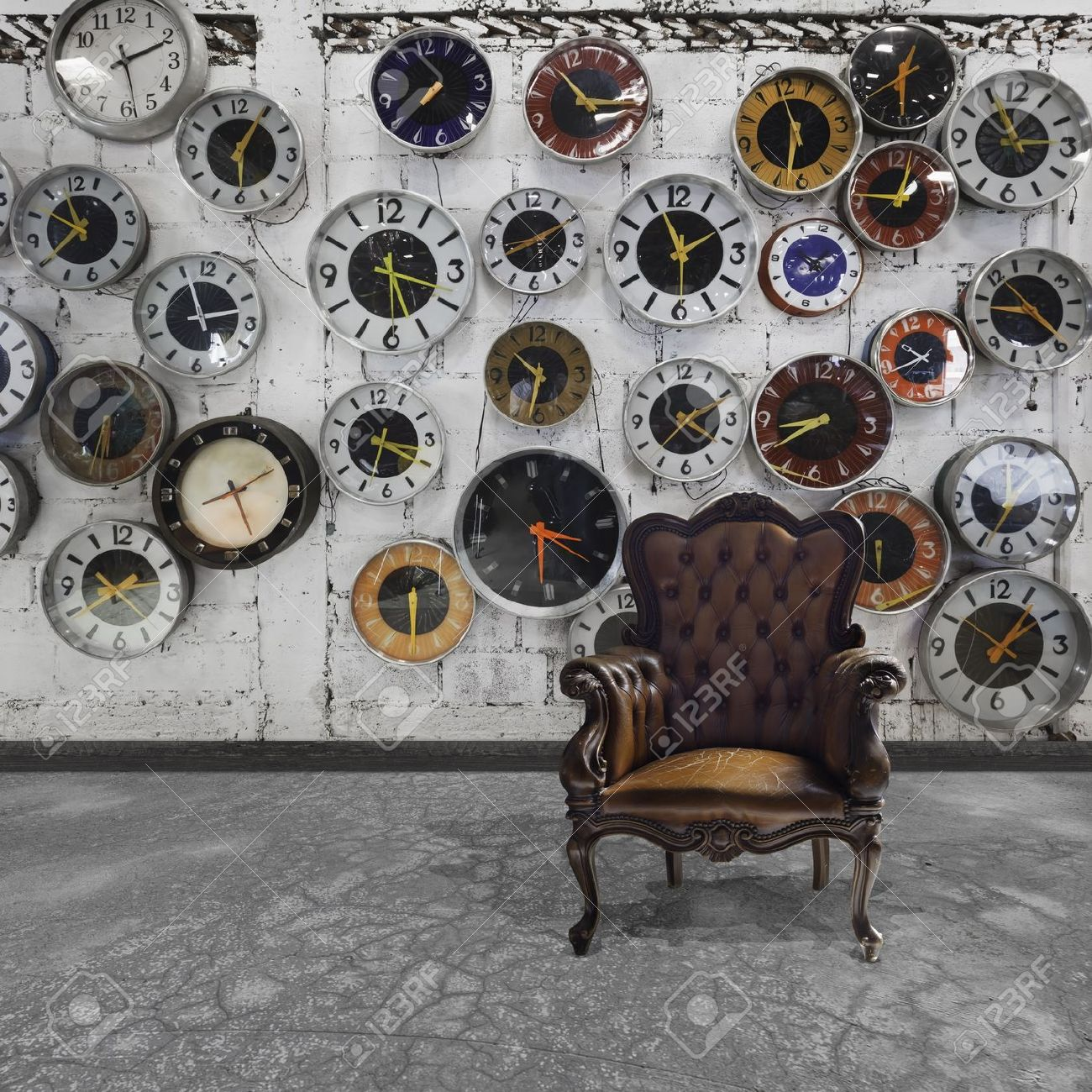 Retro Room With Clocks Decorated On The Wall Stock Photo