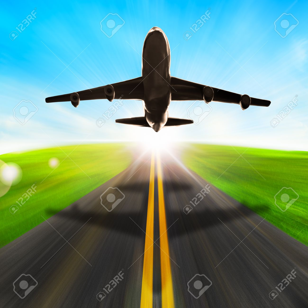 road and plane with speed motion and ray lighting