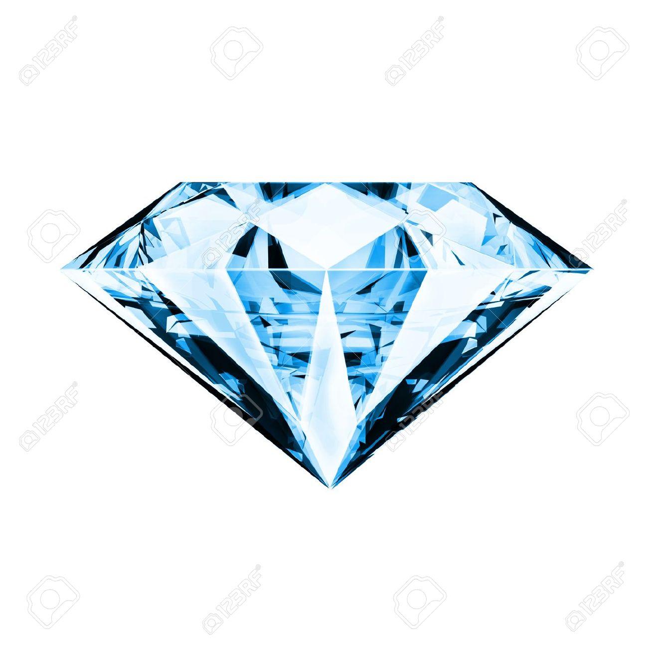 single blue diamond ,front side Stock Photo - 11824389