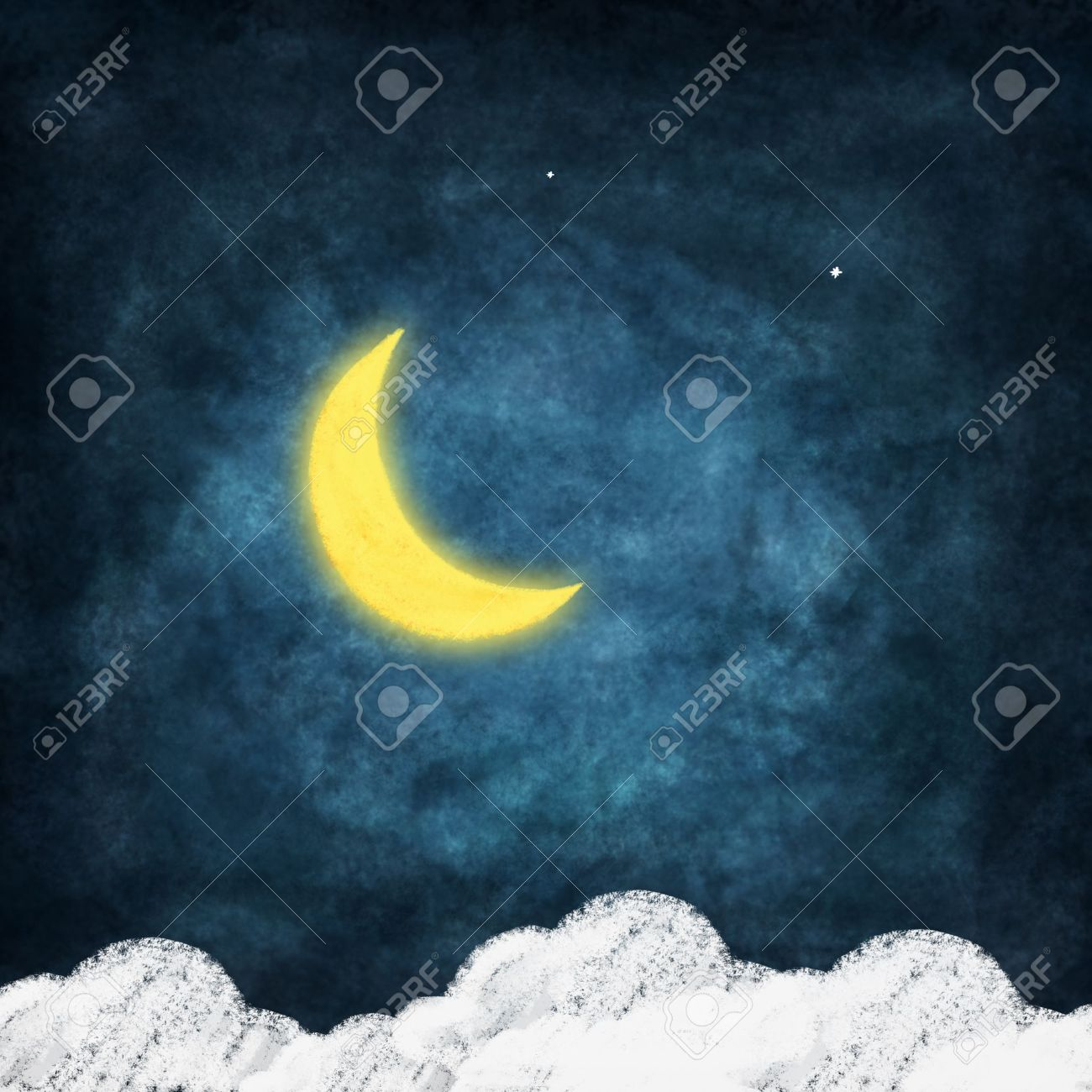 weather icon drawing on chalkboard ,night time,smile moon Stock Photo - 11823215